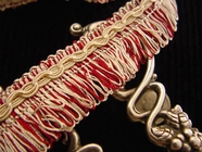 Ivory Red Loop Fringe Trim Made in Italy Vintage Drapery Braid Trim