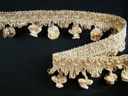 Ivory Beige Tan Fancy Onion Tassel Fringe Braid Trim 1-3/4 yards Made in Italy