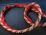 Christmas Dark Red Golden Brown Made in Italy Twisted Lip Cord Trim