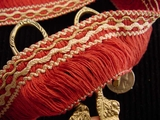 Italian Red Cream Fringe Trim Made in Italy Vintage Drapery Fringe Decorative Braid Trim