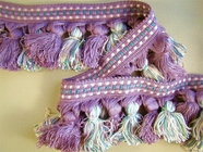 "Italian 2 3/4"" Lilac Teal Green Off White Fancy Tassel Fringe Trim LT-167"
