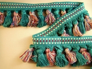 "Italian 2 3/4"" Forest Green Mauve Blue Beige Fancy Tassel Fringe Trim LT-184"
