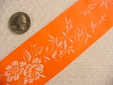 Wide Neon Orange Delicate Floral Satin Jacquard Ribbon #-WR-229