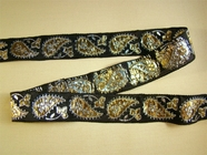 Gold Metallic Silver Paisley Jacquard Woven Ribbon Trim Black