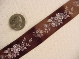 Delicate Floral on Brown Satin Jacquard Ribbon #-WR-153