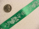 Delicate Floral on Green Satin Jacquard Ribbon #-WR-154