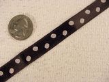 White Polka Dot on Black Satin Jacquard Ribbon #-WR-163