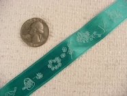 Bird-n-Vine Delicate on Teal Jacquard Ribbon #-WR-249