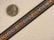 Tiny Metallic Paisley Jacquard Ribbon #-WR-69