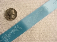 Springtime Flowers on Sky Blue Satin Jacquard Ribbon #-WR-238