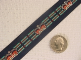 British Crown on Navy Striped Background Jacquard Ribbon #WR-25