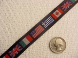 Multi Flag over Black Jacquard Ribbon #WR-41