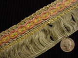 "Italian Sage 2.5"" Wide Fringe Trim Made in Italy Vintage Drapery Fringe Decorative Braid Trim"
