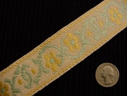 Yellow Flower Jacquard Italian Woven Trim Made in Italy Vintage Decorative Trim