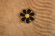 Elegant Black Flower with Gold Metallic Embroidery Iron On Applique # appliques-1075
