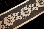 "4 3/4"" Natural White Silver Metallic Floral Lace Trim #1056"