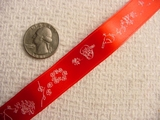 Bird-n-Vine Delicate on Red Jacquard Ribbon #-WR-246