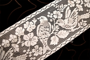 "4 3/4"" Vintage White Floral Bird Lace Trim #1097"