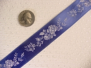 Royal Blue Floral Jacquard Satin Ribbon #WR-1