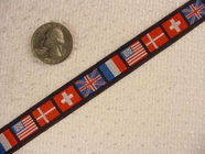 Various Red, White and Blue Flag Pattern Jacquard Ribbon #-WR-73
