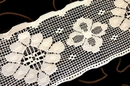 "3 7/8"" Natural White Vintage Floral Lace Trim #1132"