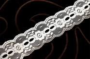 "1 3/8"" Pure White Stiff Galloon Lace Trim #1136"