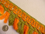 7 yards Orange & Olive Green Fringe Trim #-TV-1241
