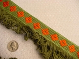 10 yards Green & Orange Fringe Trim #-TV-1274
