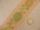 Sheer Peach Floral Embroidered Silk Lace Trim