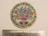 Vintage Embroidered Bouquet Flower Vase Jacquard Applique Round Patch