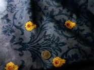 Gold, Wine Red, Slate Blue Drapery Prints Fabric # K-716