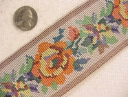 Embroidered-Look Floral Jacquard Ribbon#-WR-92