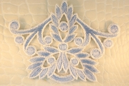 Soft Blue White Floral Design Iron-On Applique #appliques-13