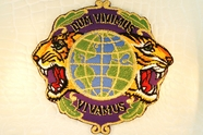 Tigers with World Globe 'Dum Vivimus Vivamus' Gold Metallic Purple Design Iron-On Patches #appliques-14