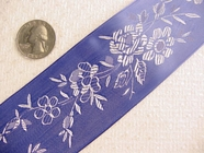 Wide Royal Blue Delicate Floral Satin Jacquard Ribbon #-WR-228