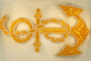 Sparkling Gold Silver Metallic Rope Anchor Design Iron-On Applique #appliques-28