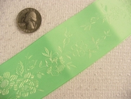 Wide Neon Green Delicate Floral Satin Jacquard Ribbon #-WR-227