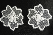 White Sheer Netting Floral Design Vintage Applique #appliques-61