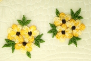 Yellow White Flowers Green Leaves Applique #appliques-1007