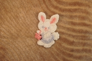 Soft Pink Blue and White Easter Bunny Applique carrying a Basket # appliques-1073