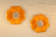 Orange Gold Silver Metallic Flower Iron-On Applique #appliques-27