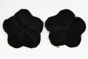 Black Satin Faced 5 Petals Flower Vintage Applique #appliques-60