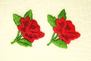 True Red Flower Green Leave Applique #appliques-1011