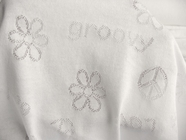 Groovy 60's Peace Floral Lace Pattern Pure White Cotton Jersey Knit #03-NV-550