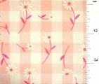"Pink Daisy Printed 1/4"" Gingham Check Fabric #ABC-581"