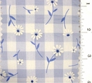"Blue Daisy Printed 1/4"" Gingham Check Fabric #ABC-582"