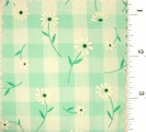 "Mint Green Daisy Printed 1/4"" Gingham Check Fabric #ABC-584"