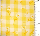 "Yellow Daisy Printed 1/4"" Gingham Check Fabric #ABC-585"