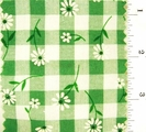 "Kelly Green Daisy Printed 1/4"" Gingham Check Fabric #ABC-586"