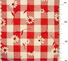 "Red Daisy Printed 1/4"" Gingham Check Fabric #ABC-587"